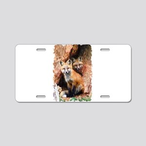 Fox cubs in Hollow Forest T Aluminum License Plate