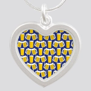Beer Cheers Silver Heart Necklace