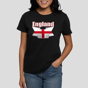 England Flag Ribbon Women's Dark T-Shirt