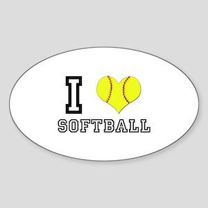 I Heart (Love) Softball Oval Sticker