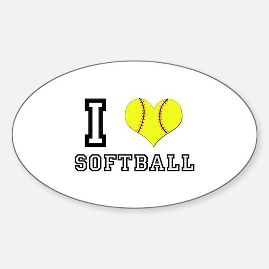 I Heart (Love) Softball Oval Decal