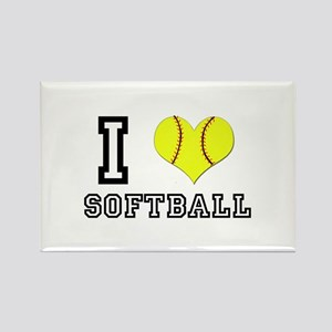 I Heart (Love) Softball Rectangle Magnet