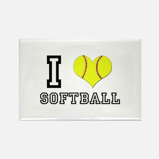 I Heart (Love) Softball Rectangle Magnet