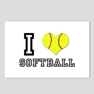 I Heart (Love) Softball Postcards (Package of 8)