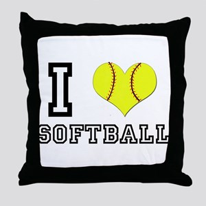 I Heart (Love) Softball Throw Pillow