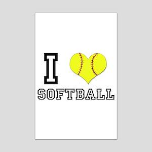 I Heart (Love) Softball Mini Poster Print