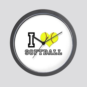 I Heart (Love) Softball Wall Clock