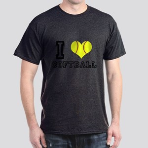 I Heart (Love) Softball Dark T-Shirt