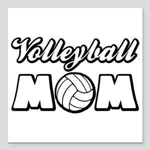 "VOLLEYBALL MOM Square Car Magnet 3"" x 3"""