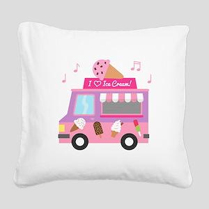 I love Ice Cream Truck Square Canvas Pillow