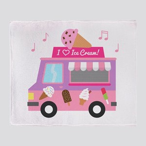 I love Ice Cream Truck Throw Blanket