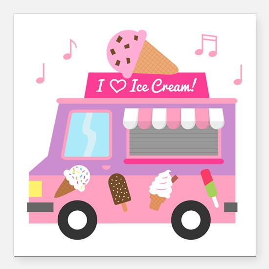 "I love Ice Cream Truck Square Car Magnet 3"" x 3"""