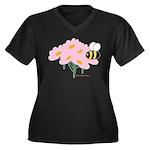 Twin B Bee Women's Plus Size V-Neck Dark T-Shirt