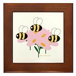 Triplet Bees Framed Tile