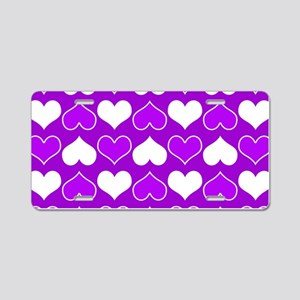 Purple and White Hearts Pat Aluminum License Plate