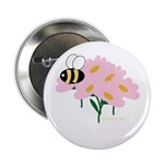 Triplet Bee Pink Flowers Button