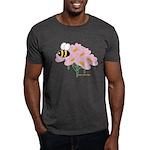 Triplet Bee Pink Flowers Dark T-Shirt