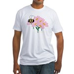 Triplet Bee Pink Flowers Fitted T-Shirt