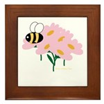 Triplet Bee Pink Flowers Framed Tile