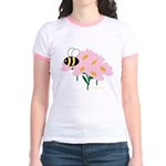 Triplet Bee Pink Flowers Jr. Ringer T-Shirt