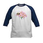 Triplet Bee Pink Flowers Kids Baseball Jersey