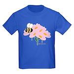 Triplet Bee Pink Flowers Kids Dark T-Shirt