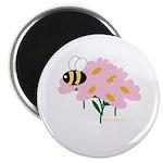 Triplet Bee Pink Flowers Magnet