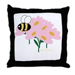 Triplet Bee Pink Flowers Throw Pillow