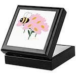 Triplet Bee Pink Flowers Keepsake Box