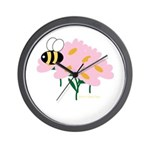 Triplet Bee Pink Flowers Wall Clock