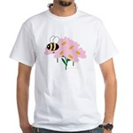 Triplet Bee Pink Flowers White T-Shirt