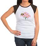 Triplet Bee Pink Flowers Women's Cap Sleeve T-Shir