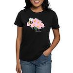 Triplet Bee Pink Flowers Women's Dark T-Shirt