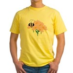 Triplet Bee Pink Flowers Yellow T-Shirt