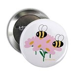 Twin Bees on Flowers Button