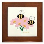 Twin Bees on Flowers Framed Tile