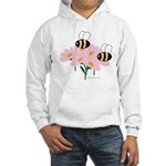 Twin Bees on Flowers Hooded Sweatshirt