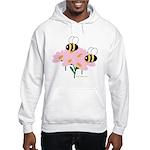 Twin Bees on Flowers Hooded Sweatshirt