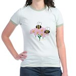 Twin Bees on Flowers Jr. Ringer T-Shirt