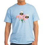 Twin Bees on Flowers Light T-Shirt