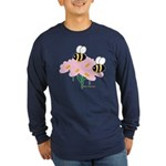 Twin Bees on Flowers Long Sleeve Dark T-Shirt