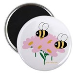 Twin Bees on Flowers Magnet