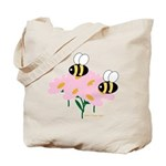 Twin Bees on Flowers Tote Bag