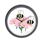 Twin Bees on Flowers Wall Clock