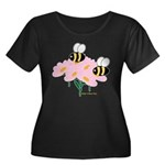 Twin Bees on Flowers Women's Plus Size Scoop Neck