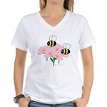 Twin Bees on Flowers Women's V-Neck T-Shirt