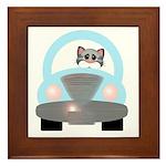 Driving Cat Framed Tile