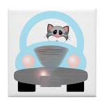 Driving Cat Tile Coaster