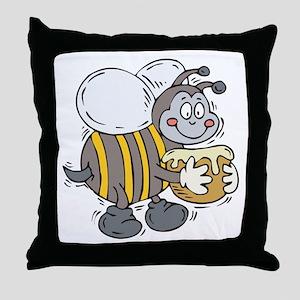 Happy Honey Bee Throw Pillow