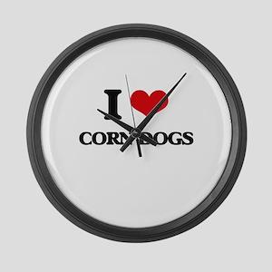 I love Corn Dogs Large Wall Clock